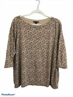 Land's End Beige & Red Floral Long Sleeve Boat Neck Casual Blouse Top Plus 2X