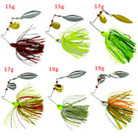 6pcs Fishing Spinner Spoon Baits Pike Bass Jigs Head Rubber Fishing Lures Tackle