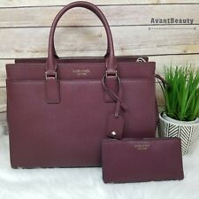 Kate Spade Cameron Satchel Cherrywood Burgundy Crossbody Leather Bifold Wallet