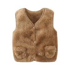 Kids Baby Girls Boys Warm Fleece Faux Fur Outerwear Waistcoat Vest Jackets Coat