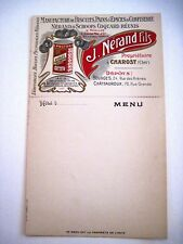Vintage French Printer's Sample of Advertising Menu w/Postcard Attached At Top*