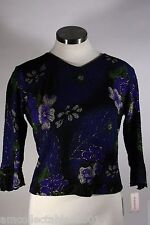Dressbarn Long Sleeve Floral Design w/ Gold Accents Dress Shirt Petite Small 042