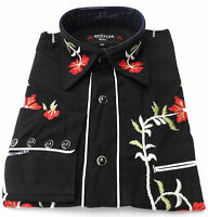 Black Red Western Cowboy Embroidered Vintage/retro Shirts