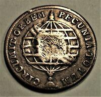 BRASILIEN  80 Reis 1790 Maria I.-Gegenstempel PR Johann (ca. 1809) ss+ / vf-plus