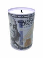 "Tin Money Savings Piggy Bank with Ben Franklin $100 Bill Money Coin Saver 4"""