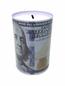 Tin Money Savings Piggy Bank with Ben Franklin $100 Bill Money Coin Saver 4""