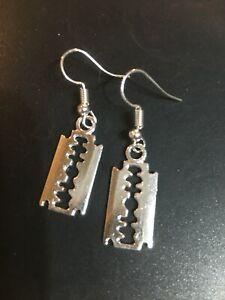 large Razor Blade Earrings, Punk Goth emo on 925 silver hooks -handmade New