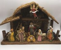 Vintage FONTANINI Nativity Depose Italy Set of 10 Figures With Creche Stable