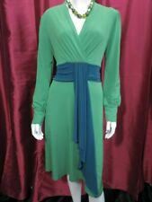 Trinny & Susannah Dress Green Dress with blue ribbon day work/evening - UK 12