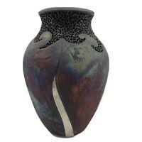 Vintage Signed Studio Art Pottery Iridescent Metallic Vase Purple Copper Blue