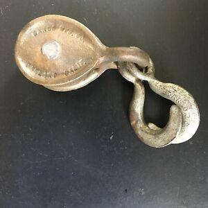 Vintage GARCO Bronze Single Pulley Block w/ Cast Iron Scissor Hook  (24270)
