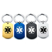 Personalized Engraving Medical Alert Men's Women's Name ID Keychain Key Ring Tag