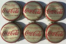 6 1950's COCA-COLA SODA BOTTLE CAPS; USED CORK