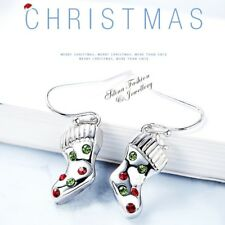18K White Gold GF Made With Swarovski Element Christmas Shoes Dangle Earrings