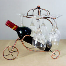 Vintage Bronze Tricycle 6 Wine Glass& Bottle Server Display Rack Organizer Stand