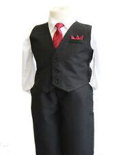 Boys Formal Vest Set Suit Solid Vest Outfit  Wedding Toddler Infant 6 Months-4T