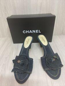 Chanel Shoes, Chanel Jeans Flower Mules Women Heels Shoes, Size 41 EU 8 1/2 US.