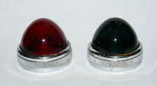 2 Vintage INSTRUMENT PANEL GLASS LIGHT COVERS, RED & GREEN