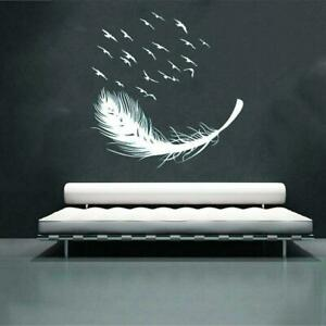 Large Feather Wall Art Stickers Birds Vinyl Decal Living Room Bedroom Home Decor