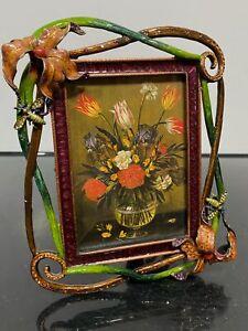 Designer JAY STRONGWATER Ornate Jeweled Enamel Flower Picture Photo Frame