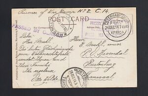 """SOUTH AFRICA: 1913 """"Camp No. 2"""" PRISONER OF WAR Cover to TRANSVAAL"""