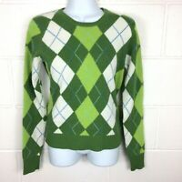 J Crew Green Argyle Wool Blend Crewneck Pullover Sweater Petite Small