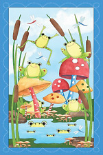 """Quilting Treasures It's a Pond Party Animals 100% Cotton Fabric Panel 44"""" X 24"""""""