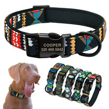 Custom Personalized Dog Collar ID Tag Engraved Side Release Buckle Tribal Design