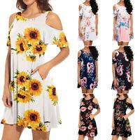Summer Women Cold Shoulder A Line Short sleeve Floral Midi Dress Casual Sundress