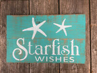 Beach Decor STARFISH WISHES Sign Seaside Cottage Bar Pub Wall Art Rustic Wood HP