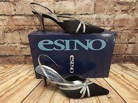 Womens Esino Abigail Black Leather/Synthetic Mid Heel Sling Back Shoes Size UK 3