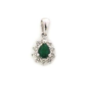 0.3 ctw Natural Pear Emerald Diamond Solid 14k White Gold Halo Teardrop Pendant