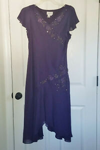 Adrianna Papell Asymmetrical Purple Cocktail Dress Sz 14 Beaded Floral Sequined