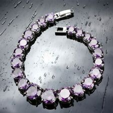 """Purple Amethyst Round Stones Bracelet 925 Sterling Silver 7"""" Gift For Her"""