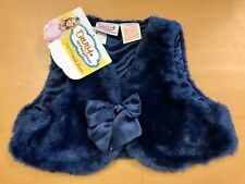 Girls Navy Blue Faux Fur Fuzzy Sleeveless Vest Size 18 Months