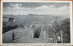 Spartanburg, SC 1918 WWI Postcard: Snake Road, Camp Wadsworth - South Carolina