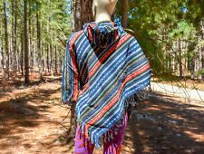 Poncho Hooded Men Women Hippy Hippie Festival New Small Mexican Blue (18)