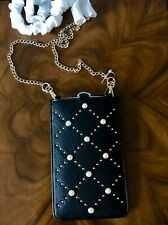 NWT Kate Spade Pearl & Gold Rivets Black Leather iPhone Sleeve iPhone Crossbody