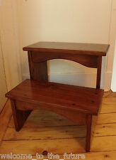 "16"" Tall Handcrafted Heavy Duty Step Stool Solid Wood Kitchen Bedside Bed GoldBr"