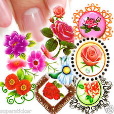 Nail Art Decal Water Slide Transfer Flowers Border Stickers 11 in 1 W35 Lot