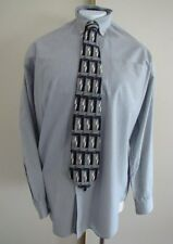 Pre-Owned NAUTICA Black White Striped Long Sleeve Shirt 17 34/35 with Silk Tie