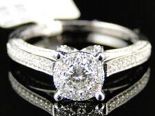 14K WOMENS WHITE GOLD ROUND CUT ENGAGEMENT BRIDAL WEDDING BAND RING SET .85 CT