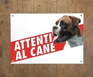 BOXER 1 Attenti al cane Targa cartello metallo Beware of dog sign metal