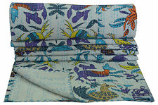 Indian Reversible Kantha Quilt Bedding Bedspread Twin size Throw Animal Print