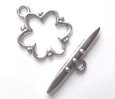 Clasps - Toggle Clasp - Open Flower - Silver - 19mm/2mm loop /T bar 24mm - x 10