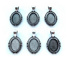 6 Antiqued Silvertone PETITE 18mm x 13mm CAMEO PENDANTS Frames Settings