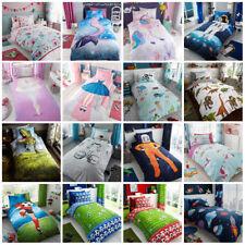 Children's Kids Girls Single Duvet Quilt Cover Bedding Sets Unicorn , Football