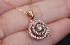 New 10k Rose Gold 1/2ct Champagne & White Diamond Round Swirl Pendant Necklace