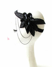 Black Sequin Beaded Chain Headband Headpiece 1920s Great Gatsby Flapper Vtg 1816