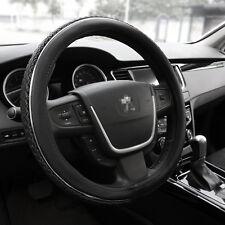 "PU Leather 15"" M Car Truck Steering Wheel Cover Black Summer Ice Silk Universal"